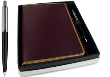Picture of Cortona Handmade Italian Leather Bound A5 Journal Burgundy Plain Gift Set