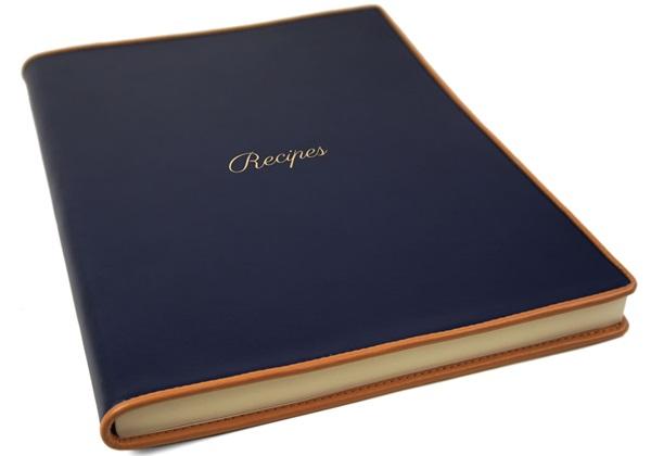 Picture of Cortona Handmade Italian Leather Bound A4 Journal Navy Plain