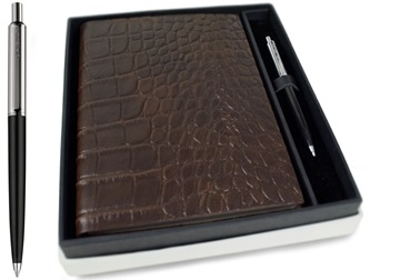 Picture of Italiano Handmade 100 % Italian Genuine Calf Leather A5 Journal Crocodile Brown Plain Gift Set