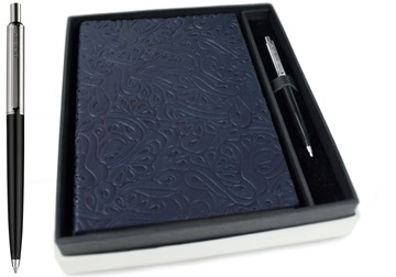 Picture of Italiano Handmade 100 % Italian Genuine Calf Leather A5 Journal Floral Navy Plain