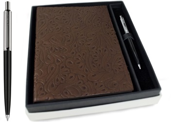 Picture of Italiano Handmade 100 % Italian Genuine Calf Leather A5 Journal Floral Chocolate Plain