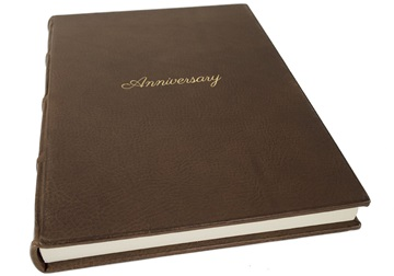 Picture of Chianti Handmade Italian Leather Bound A4 Anniversary Journal Chocolate Plain
