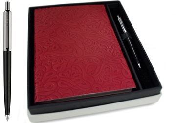 Picture of Italiano Handmade 100 % Italian Genuine Calf Leather A5 Journal Floral Red Plain