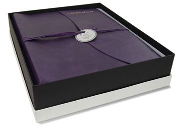 Picture of Capri Handmade Italian Leather Wrap Large Photo Album Aubergine
