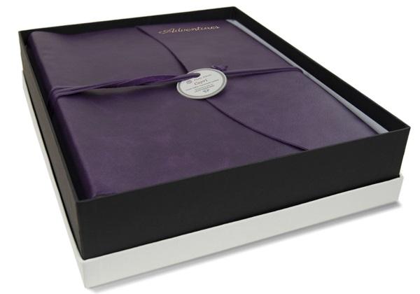 Picture of Capri Handmade Italian Leather Wrap Large Photo Album Aubergine