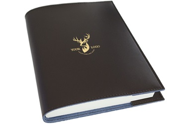 Picture of Personalised With Your Logo Acuto Handmade Italian Leather Bound A5 Refillable Journal Chocolate Corporate Gift