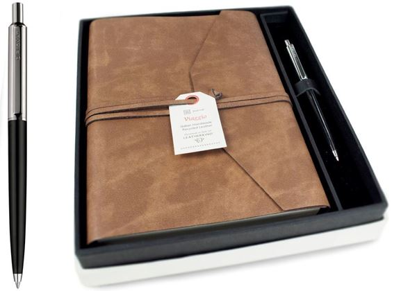 Picture of Viaggio Handmade Recycled Leather Wrap A5 Journal Gift Set
