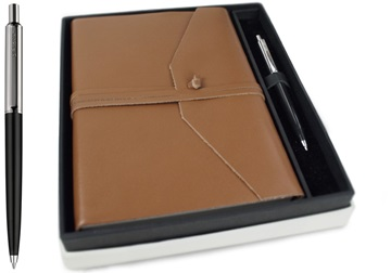 Picture of Empire Handmade Leather A5 Journal Cognac Plain Gift Set