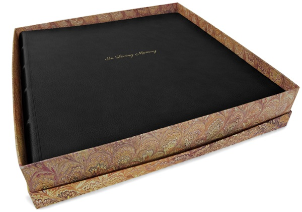 Picture of Chianti Handmade Italian Leather Bound Extra Large In Loving Memory Photo Album Black