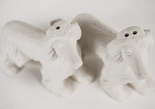 Picture of Afghan Hound Handmade Unpainted Ceramics Mini Unpainted Cruet Set Unglazed