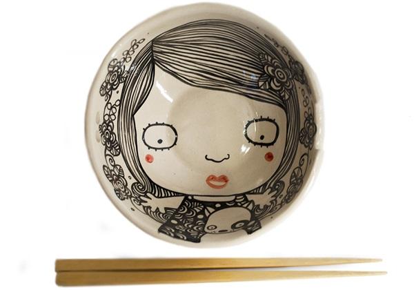 Picture of Shojo Handmade Ceramic Noodle Medium Bowl Monochrome