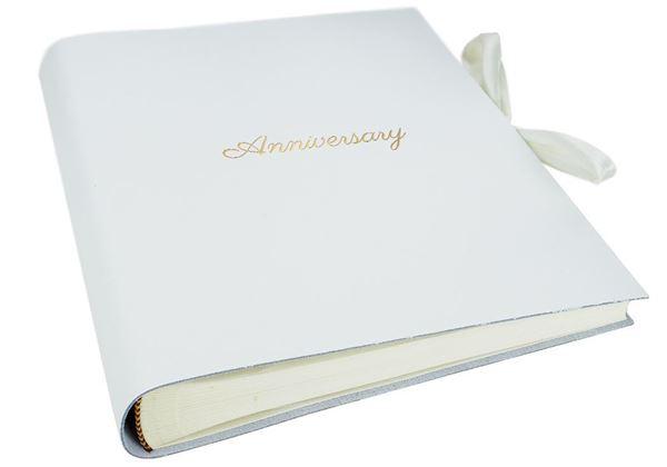 Picture of Puro Handmade Italian Leather Bound Medium Anniversary Photo Album White